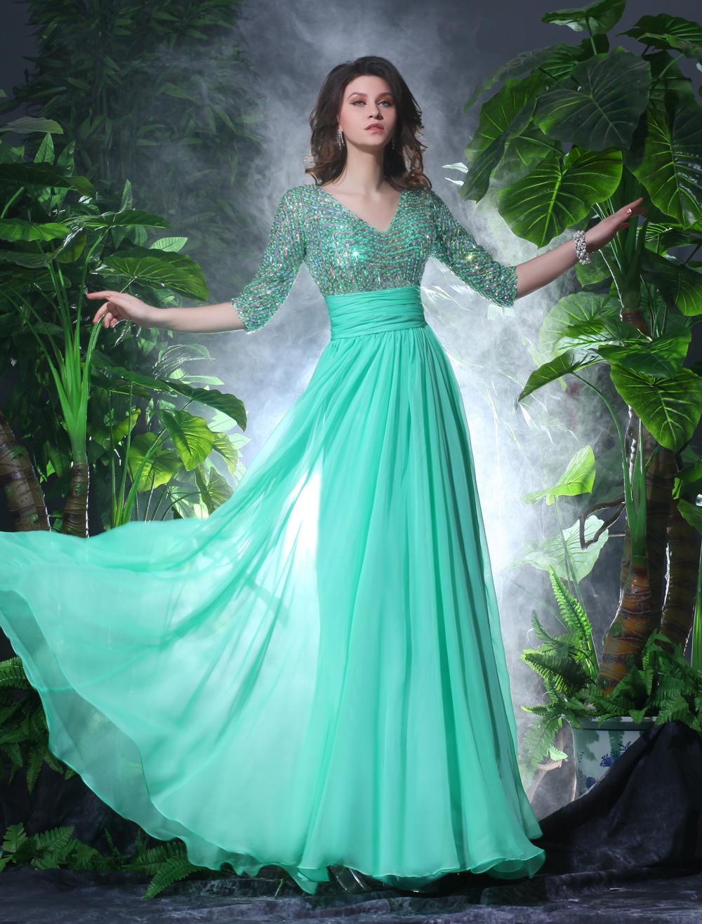 Green Evening Dress Sequins Rhinestone Cut-Out Chiffon Dress