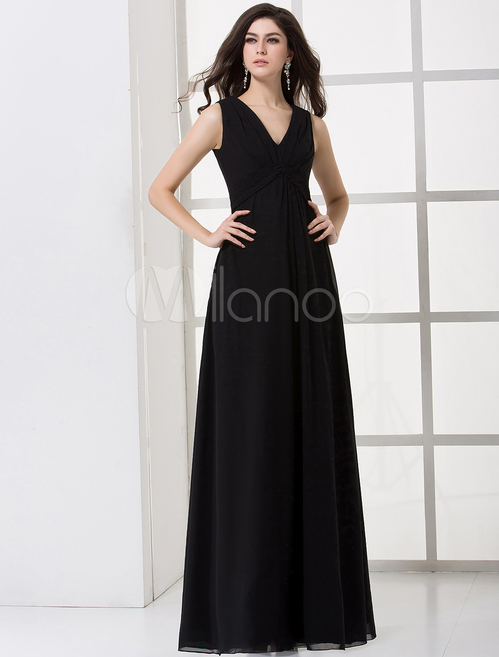 Black A-line V-neck Chiffon Floor-length Maternity Bridesmaid Dress ...