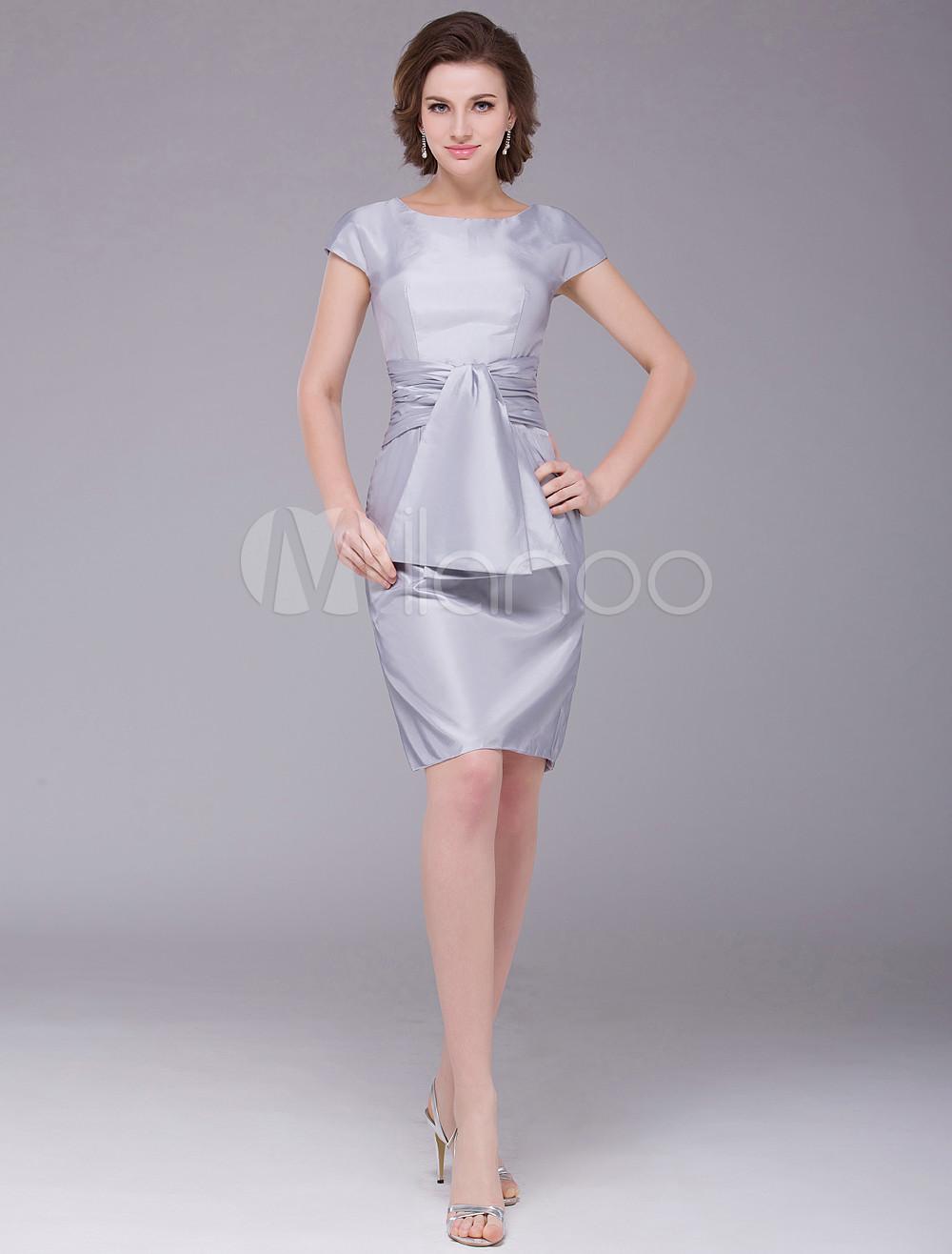 5f77a4157b18 ... Sheath Pleated Zipper Taffeta Bridal Mother Dress Wedding Guest Dress-No.8.  12. 32%OFF. Color Silver