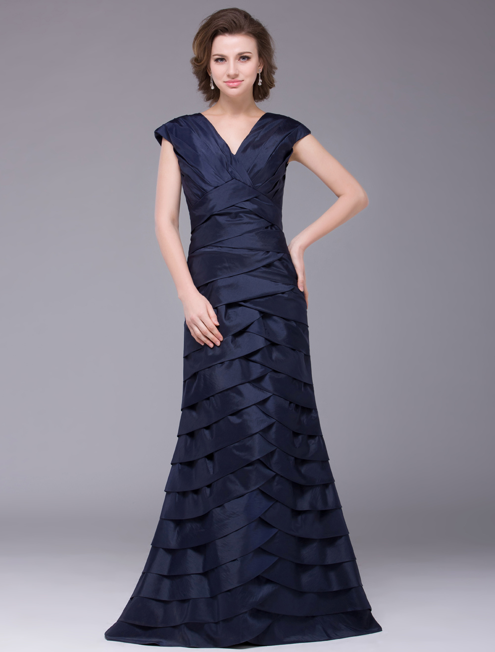 Dark Navy Mother of the Bride Dress with V-Neck & Ruffles
