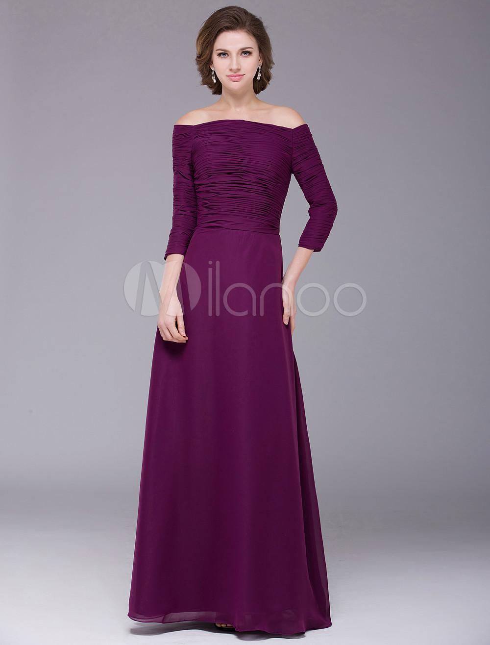 Vestido para la madre de la novia de gasa de color púrpura con ...
