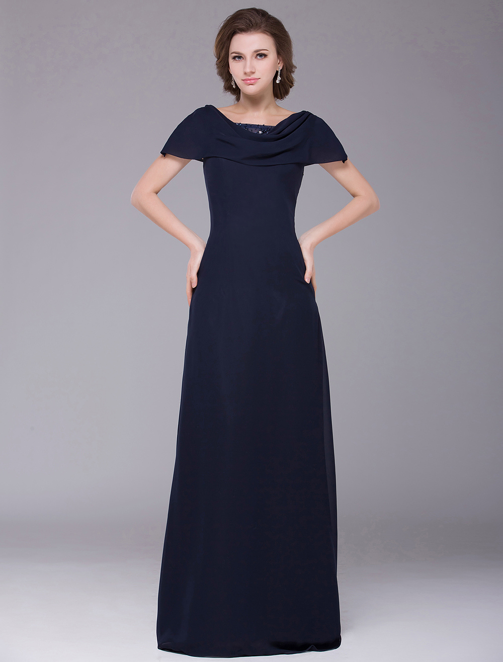 Glamourous Dark Navy A-line Zipper Chiffon Mother of the Bride Dress
