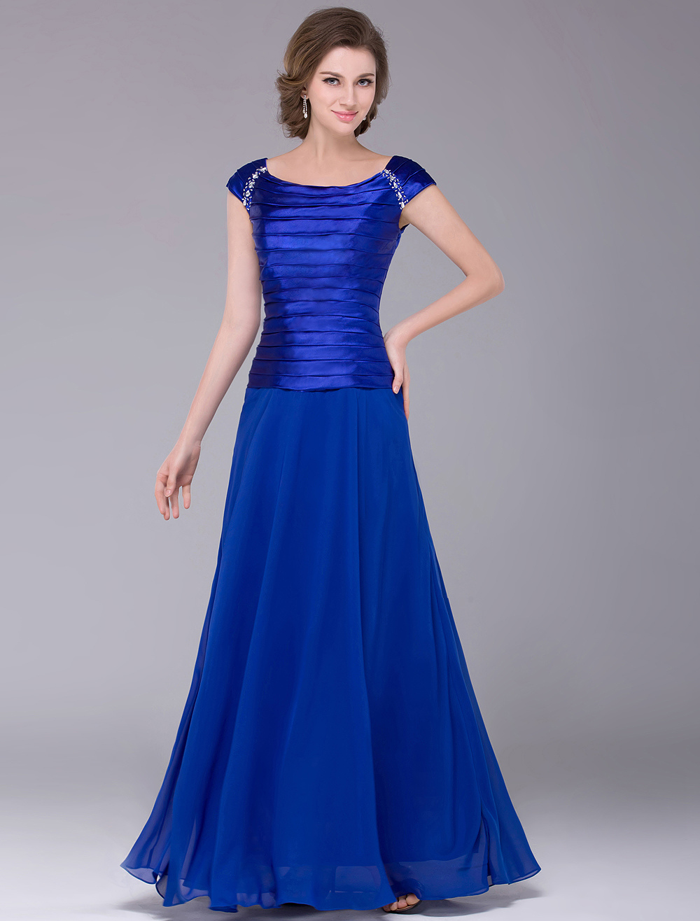 Buy Royal Blue Scoop Neck A-line Chiffon Mother of the Bride Dress for $116.99 in Milanoo store