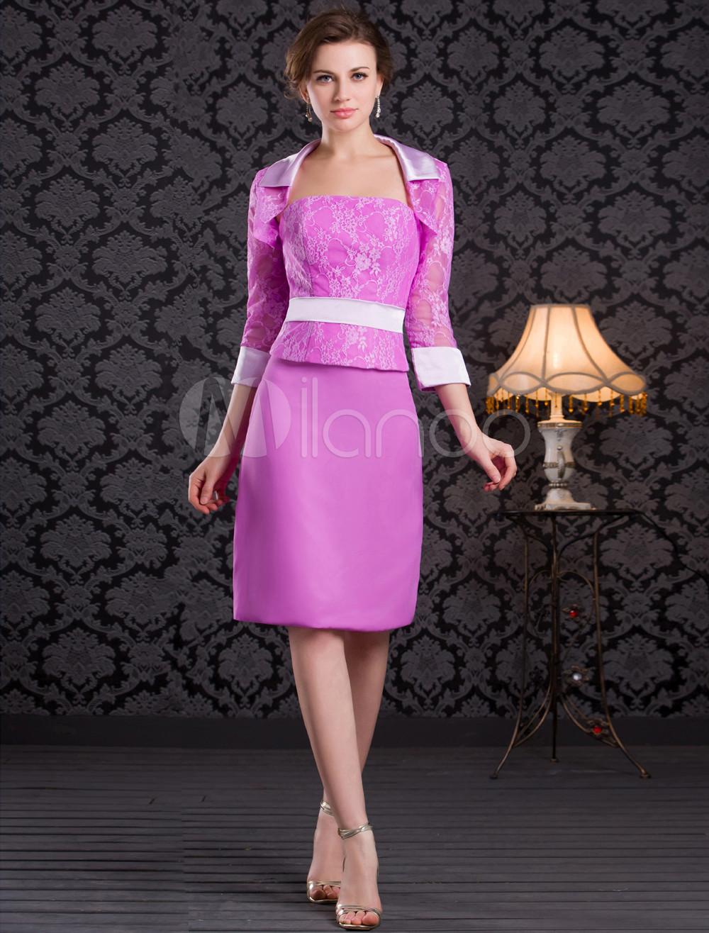 Vestido para la madre de los novios Rosa púrpura con escote palabra ...