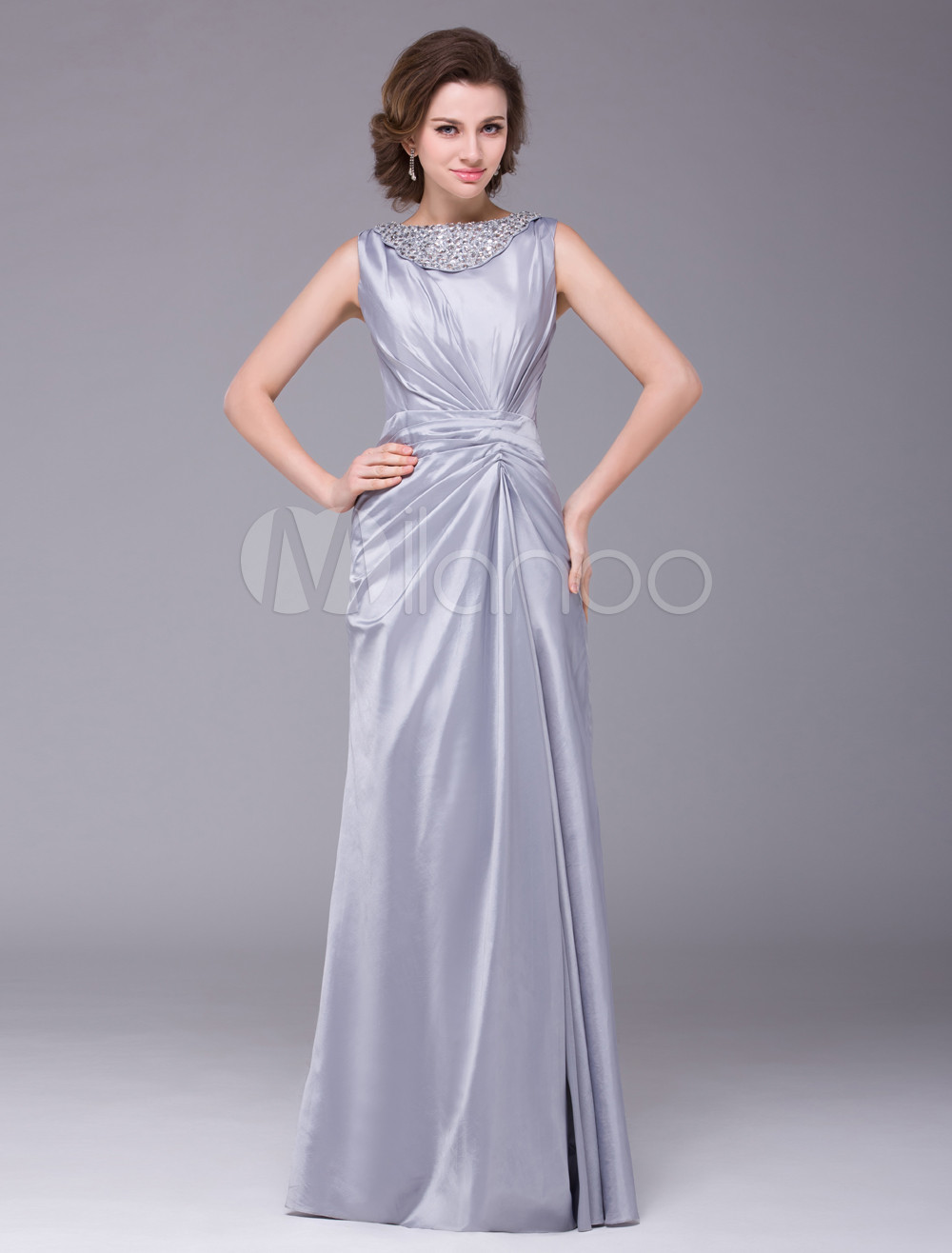 Silver Sleeveless Ruched Waistline Taffeta Mother of the Bride Dress Wedding Guest Dress