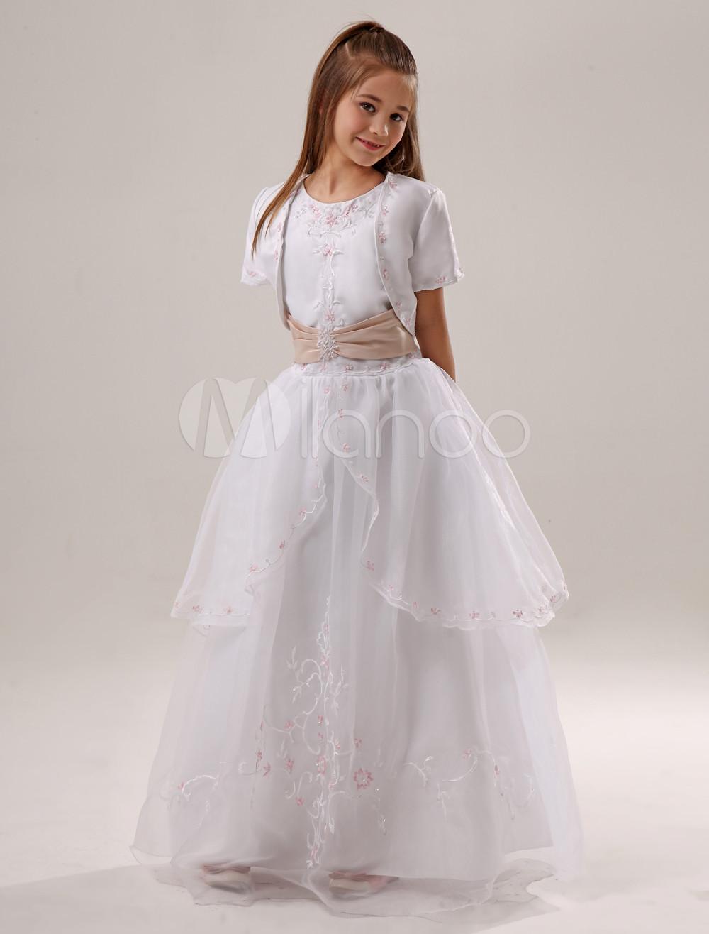 46341fe8062 White Flower Girl Dresses Embroidery Satin Ruched Sash Kids Princess ...