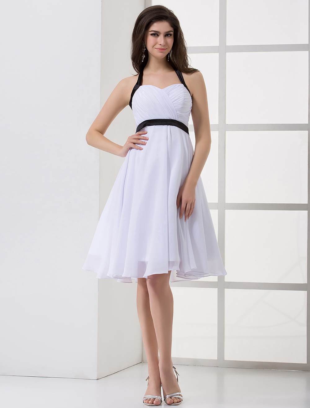semi formal wedding dresses white sash straps backless bow satin chiffon bridesmaid 7296