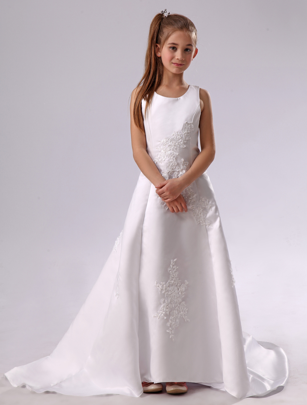 b8c5d4fd60b White Flower Girl Dress Backless Applique Satin Dress - Milanoo.com