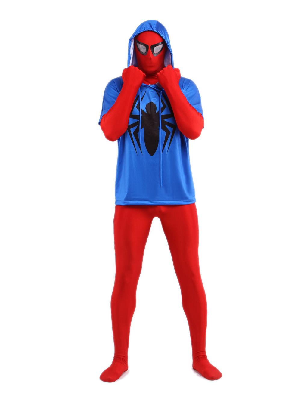 Blue Red Spiderman Zentai Suit Black Spider Print Superhero Halloween Costume with Hood Halloween
