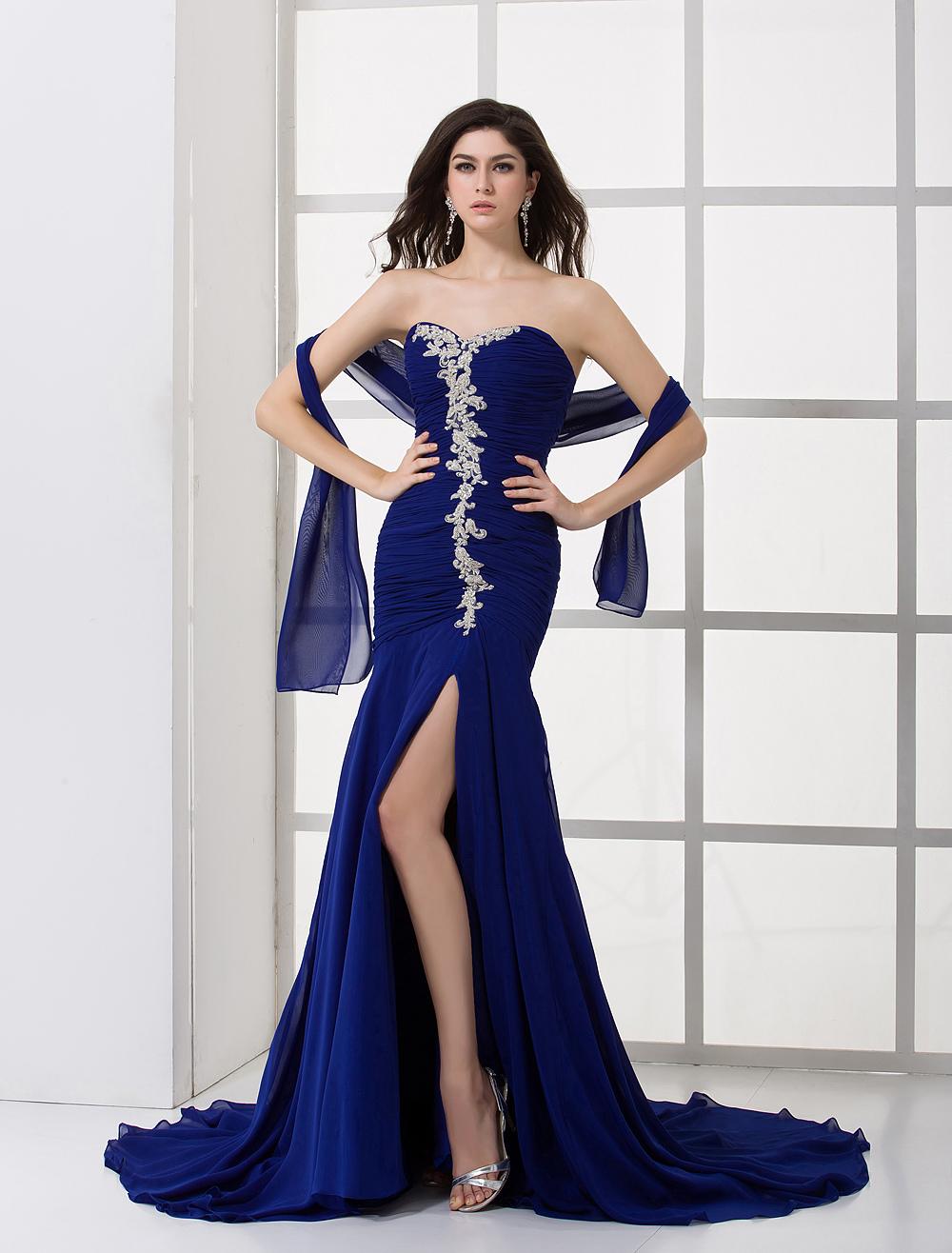 Royal Blue Chiffon Pleated Sweetheart Evening Dress ...