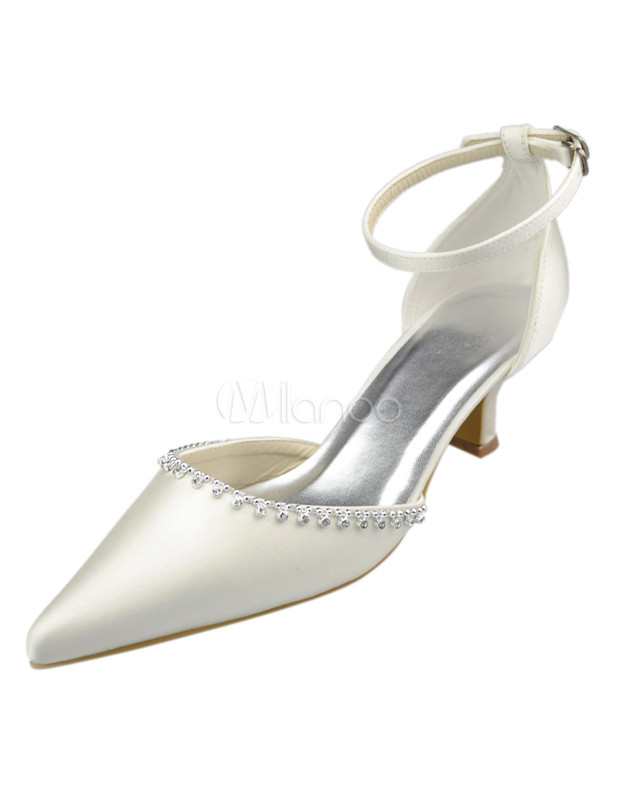 Fantastic Ivory Satin 1 9/10'' High Heel Wedding Shoes