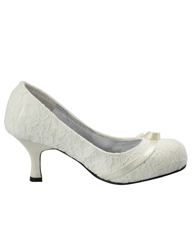Ivory Round Toe Lace Closed Back Bridal Shoes Milanoo Com