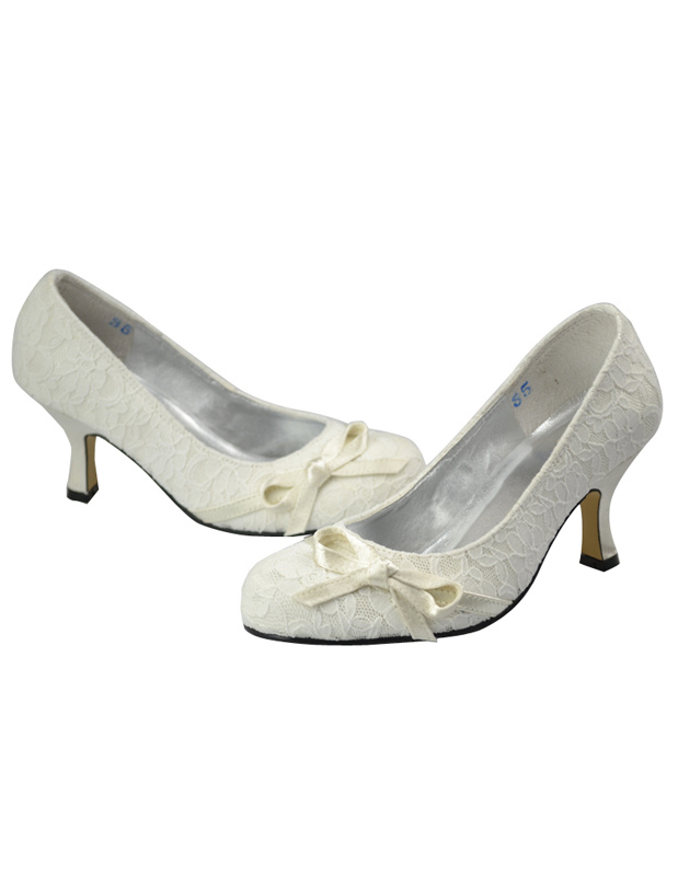 Ivory Round Toe Lace Closed Back Bridal Shoes No5