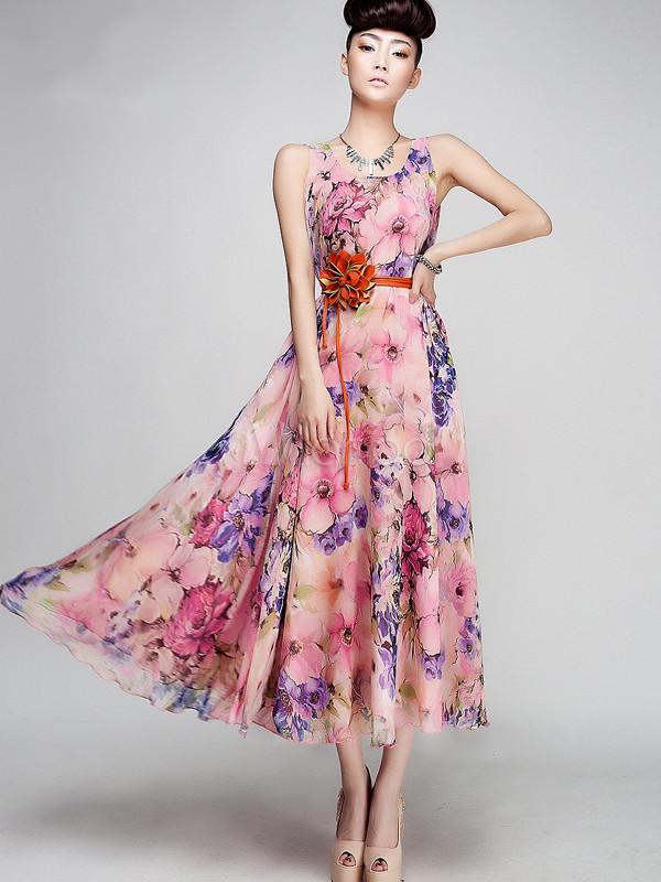Vestido largo de chifón rosado con estampado floral - Milanoo.com