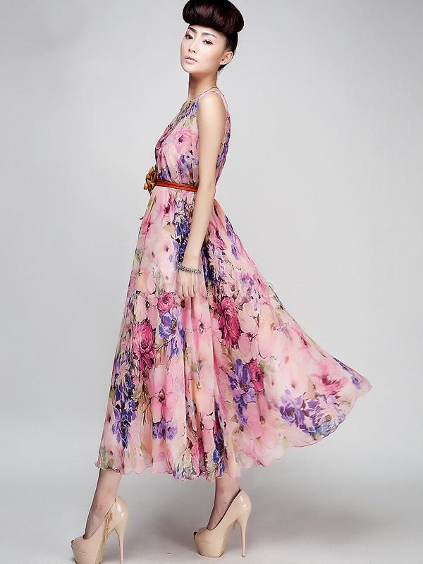 b64f4fd2289d ... Abito lungo rosa elegante stampato floreale aderente con scollo rotondo  smanicato in chiffon casuale -No ...