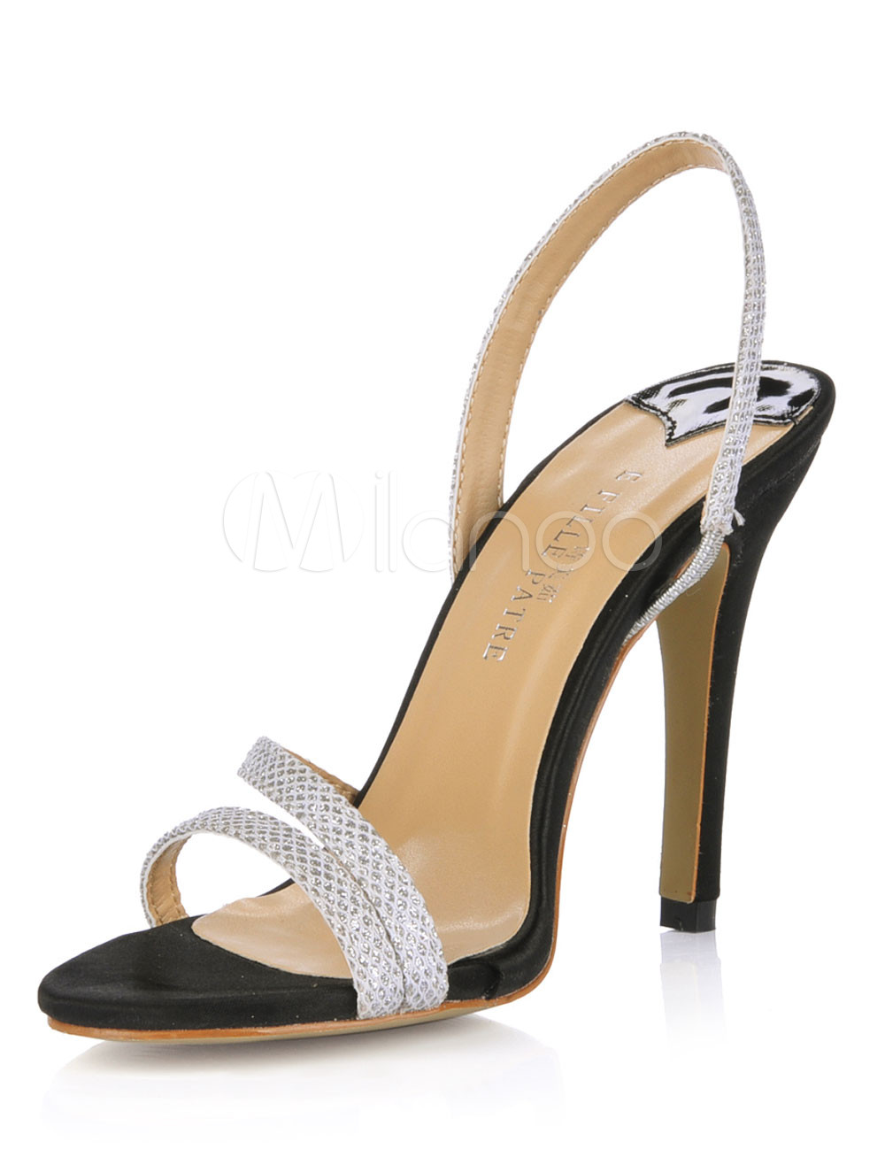 Sexy Silver Sequined Cloth Women's Slingback Heel Sandals
