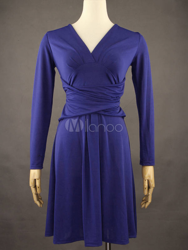 Royal Blue V-Neck Long Sleeves Cotton Blend Skater Dress For Women ... c3ee3ac32a