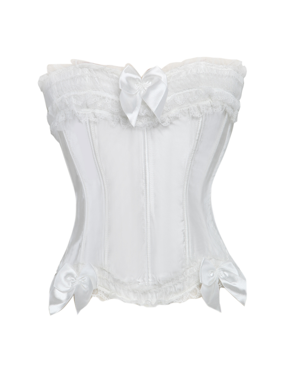 Buy Side Clasp Lace Silk Like Satin Plastic Boning Womens Bustier for $15.99 in Milanoo store