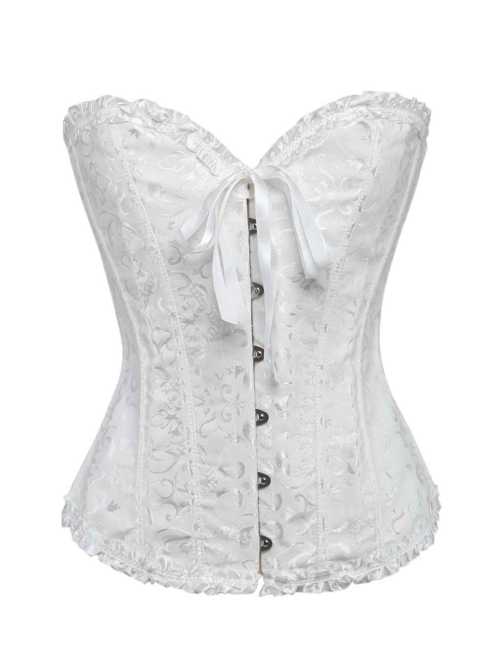 White Sweetheart Jacquard Corsets