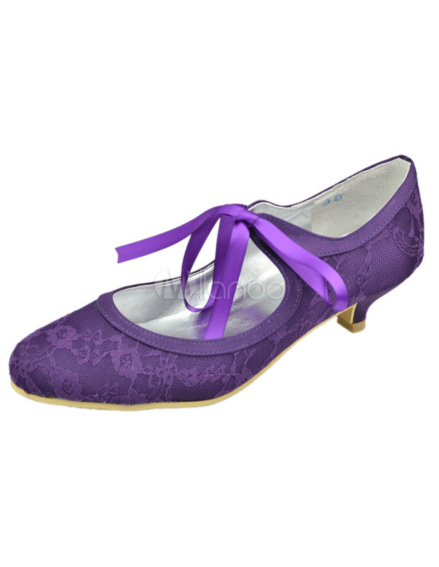 4493f8594f0 Purple Round Toe Flower Lace Wedding Shoes - Milanoo.com