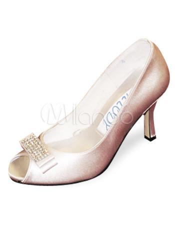 Ivory 3 1/10\'\' Heel Satin Wedding Shoes
