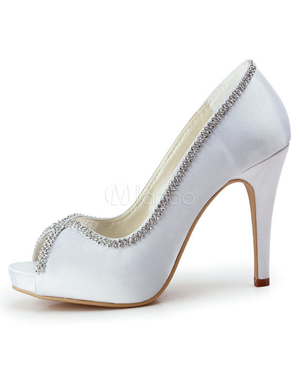 Scarpe Sposa Raso Bianco.Glitter Bianco Bordare Peep Toe Raso Matrimonio Scarpe Da Sposa