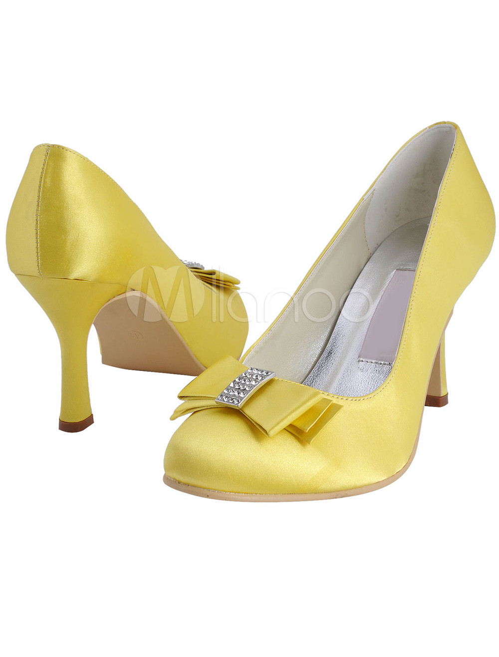11453300494c05 Yellow Satin Rhinestone Romantic Wedding Pumps - Milanoo.com