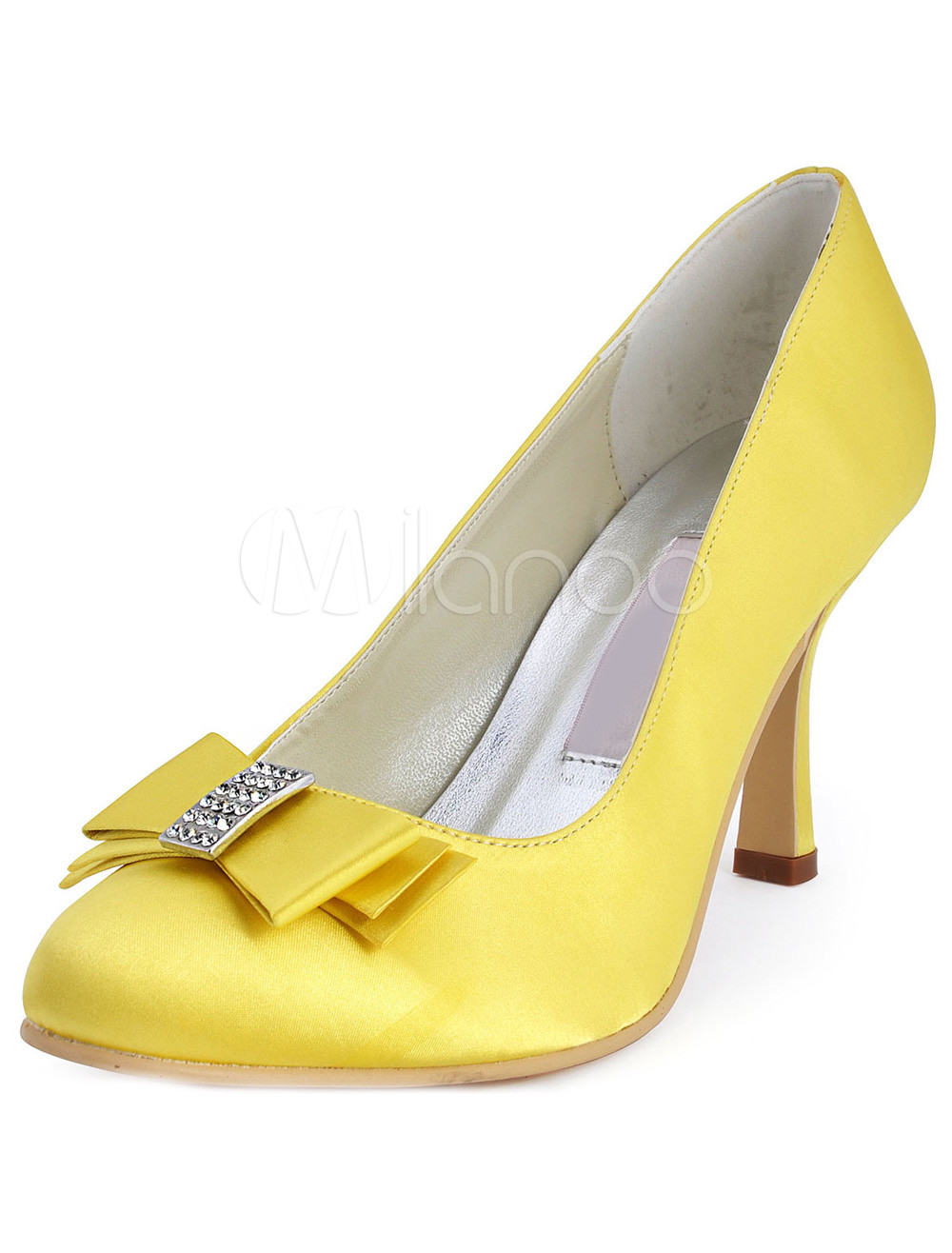 Yellow Satin Rhinestone Romantic Wedding Pumps Milanoo Com