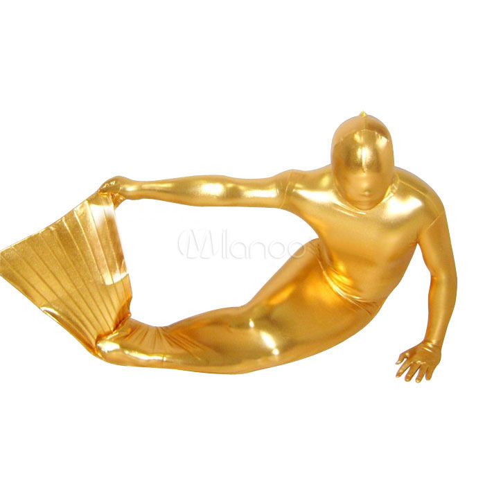 Halloween Golden Shiny Metallic Unisex Mermaid Zentai Suit Halloween