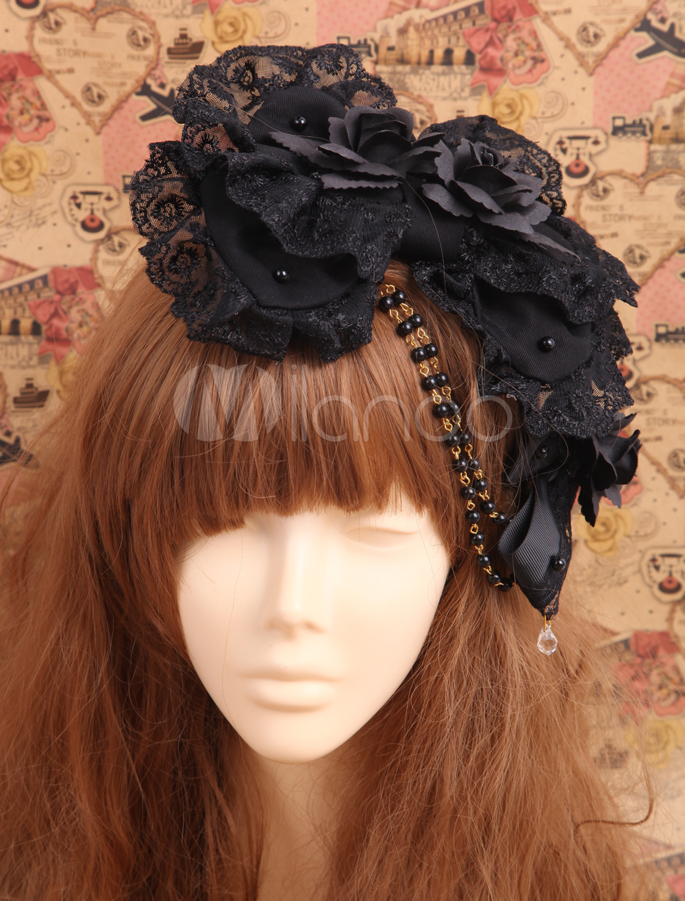 Buy Black Lolita Hairpin Lace Trim Flower Bow Decor Bead Chain for $19.19 in Milanoo store