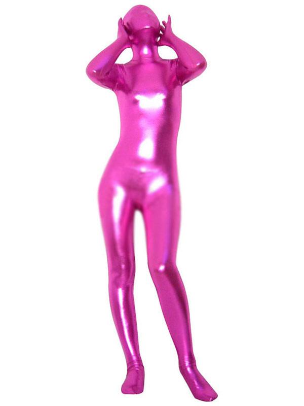 Halloween Pink Shiny Metallic Zentai Suit Halloween