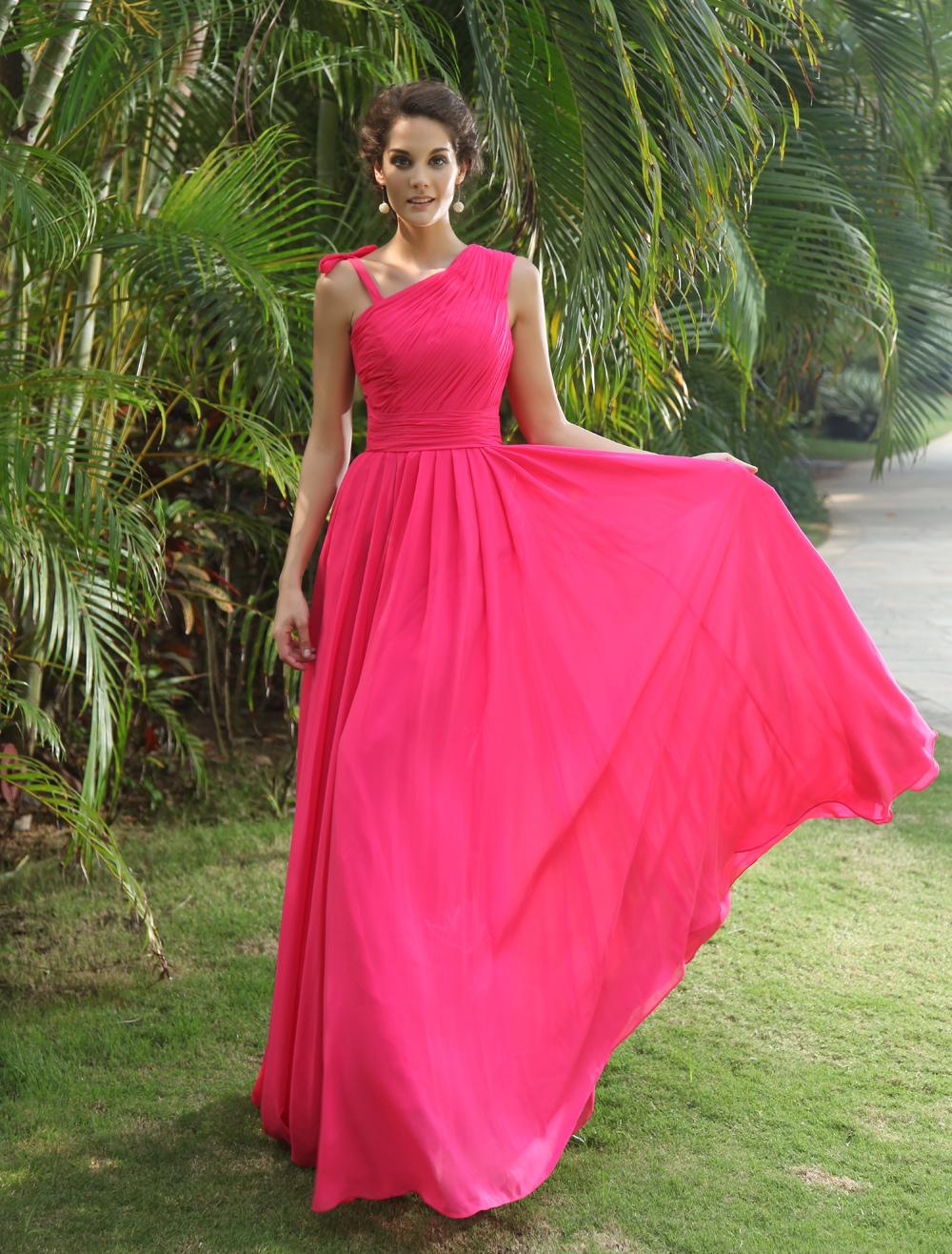 2ff9c757a Vestido de fiesta de chifón con escote a un solo hombro - Milanoo.com