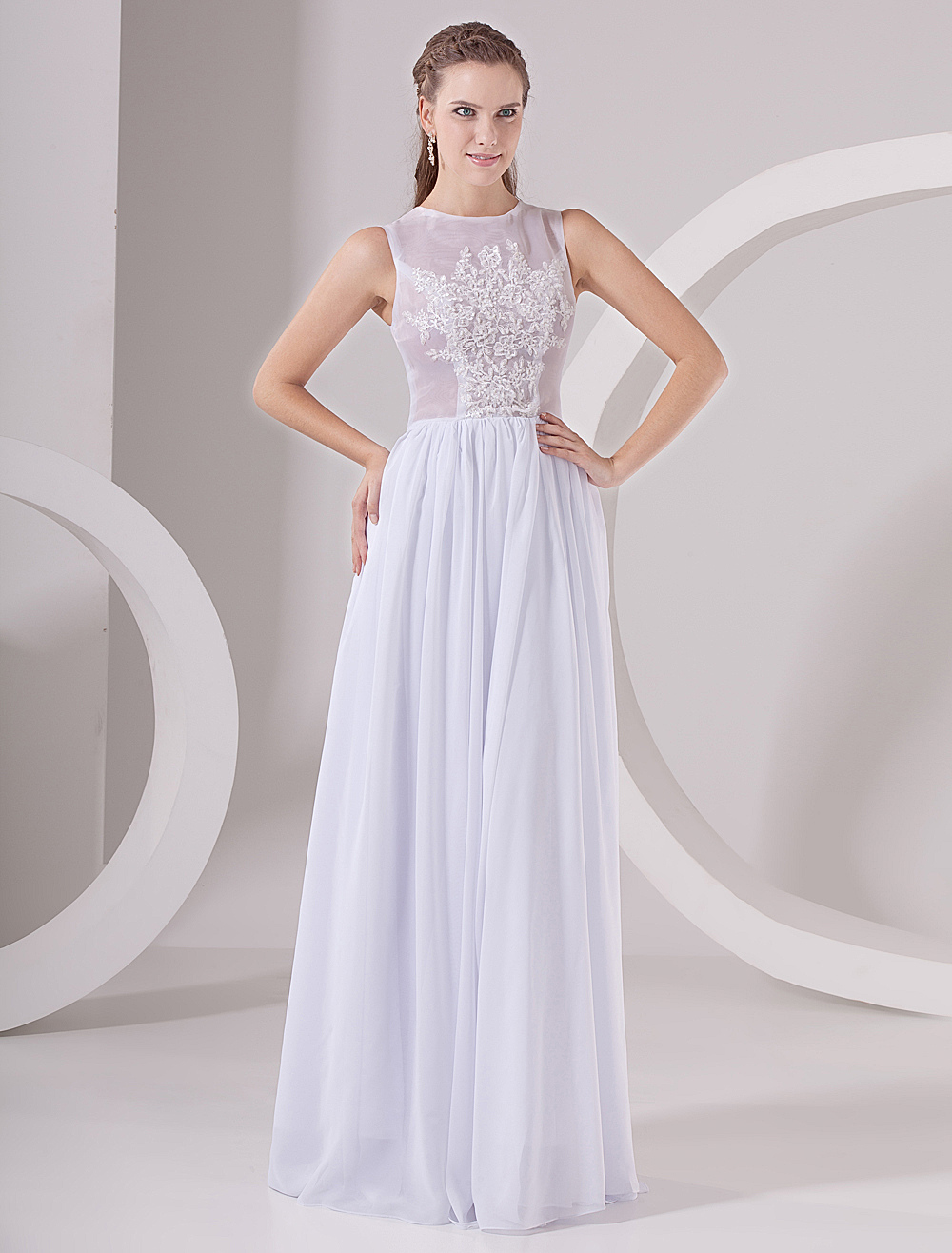 White Chiffon Ladies Special Occasion Dress - Milanoo.com