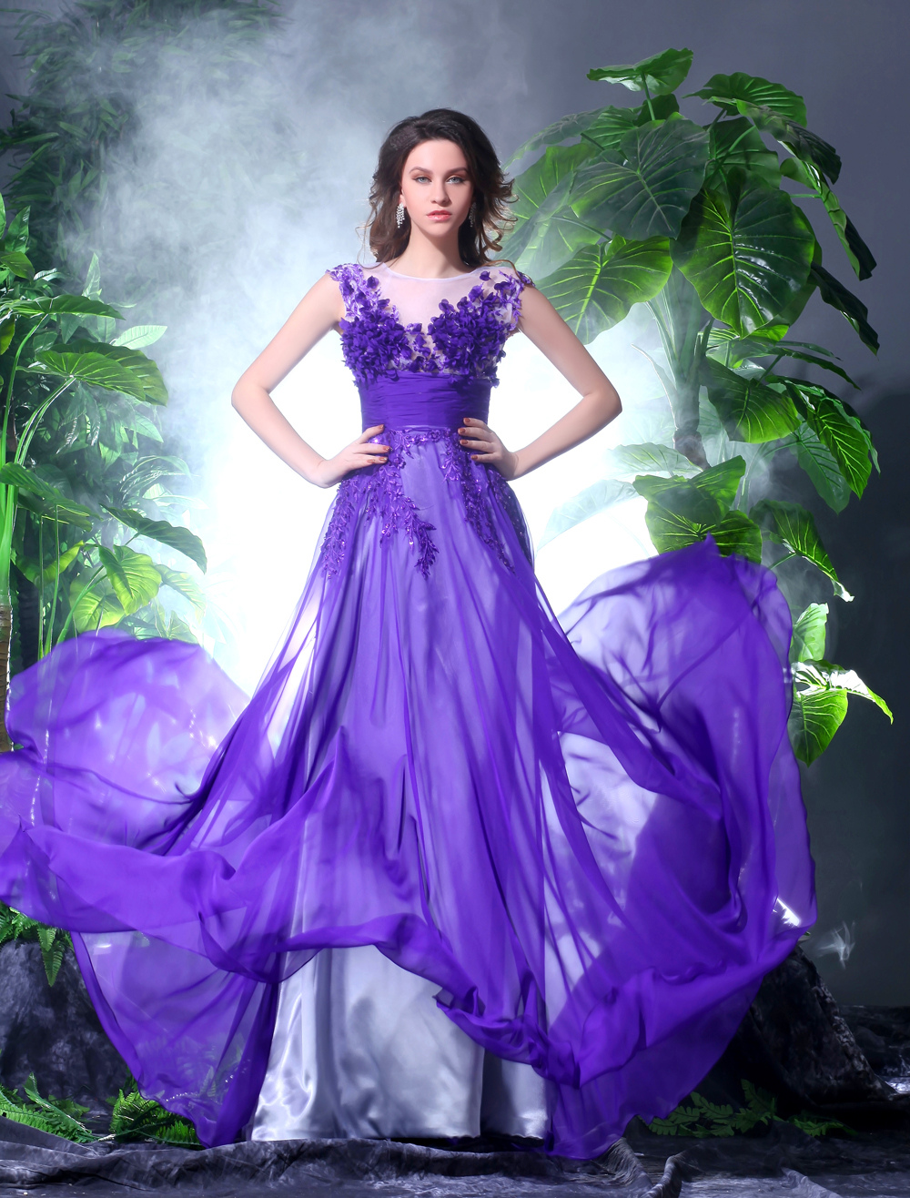 Romantic Grape Chiffon V-Neck Embroidered Women's Ball Gown Milanoo