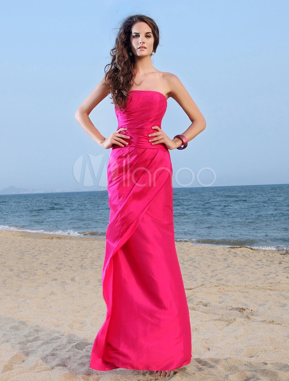 5587ecf606 Hot Pink Evening Dress Taffeta Strapless Formal Dress Ruched Floor Length  Long Prom Dress - Milanoo.com