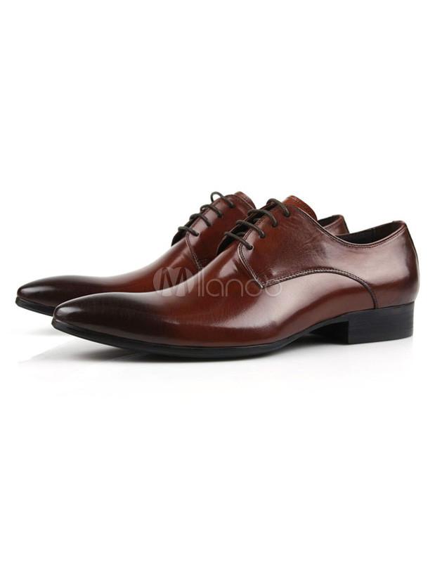 Gradient Color Design Brown Almond Toe Cowhide Dress Shoes for Men