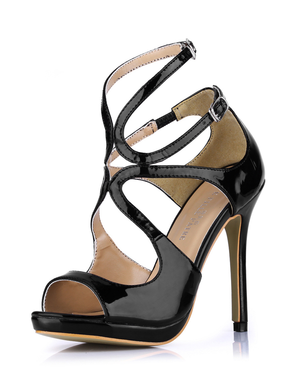 High Heel Sandals 2018 Black Open Toe Buckle Detail Strappy Sandal Shoes