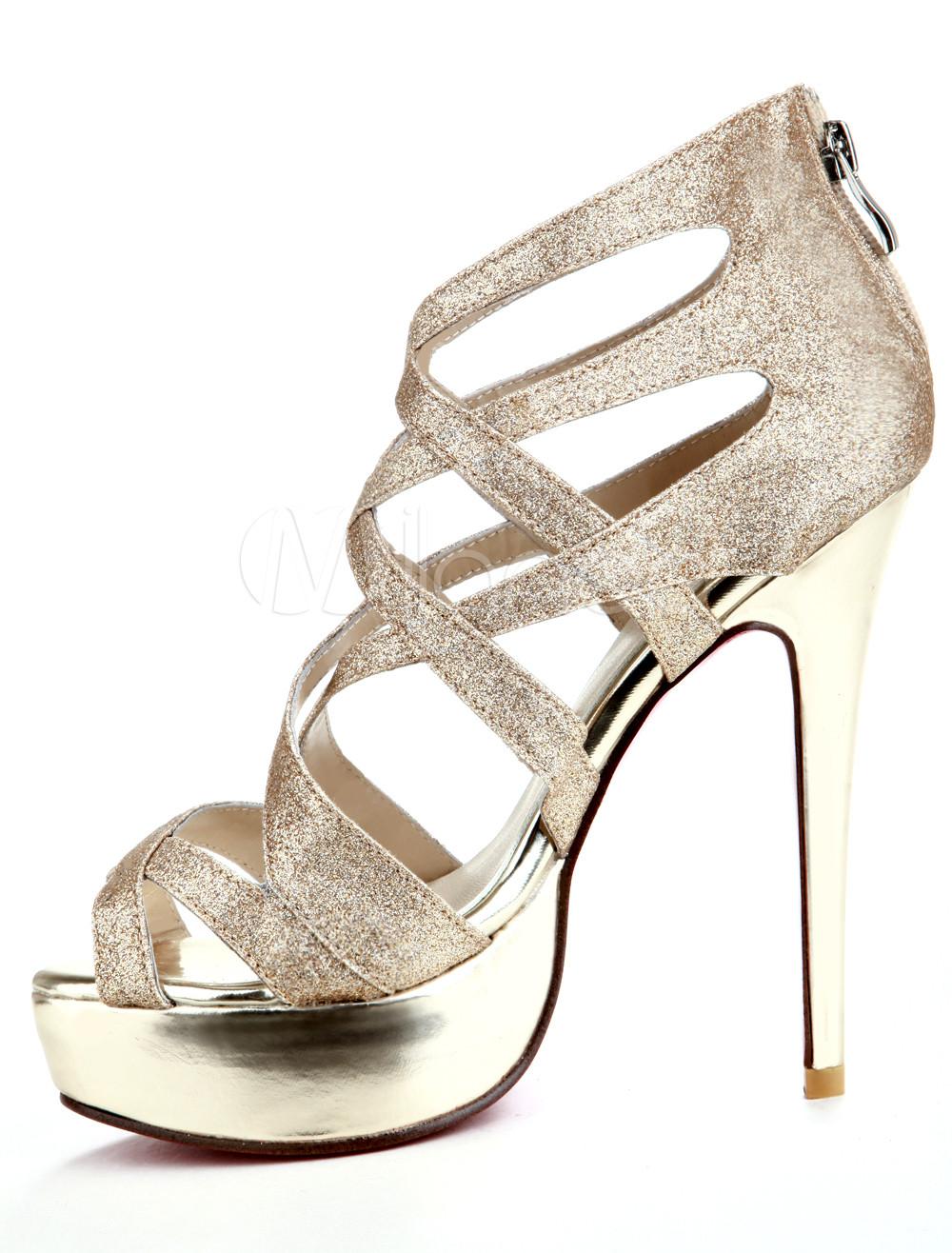 trendy golden high heel platform paillette womens fashion. Black Bedroom Furniture Sets. Home Design Ideas