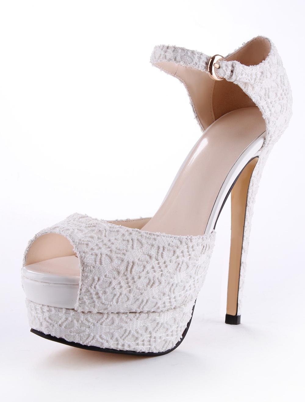 Sandales de mariée en dentelle blanc à talons aigus ruban aux chevilles