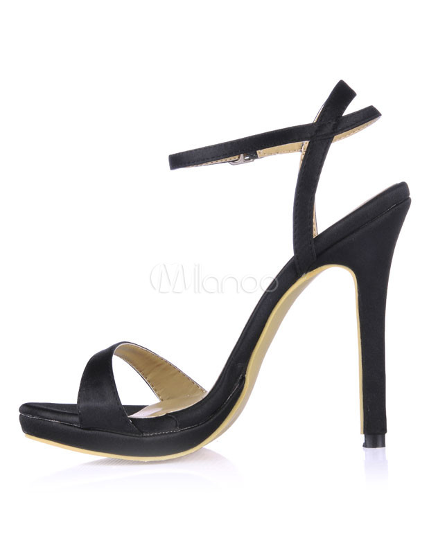 Black Imitated Silk Dress Sandals - Milanoo.com