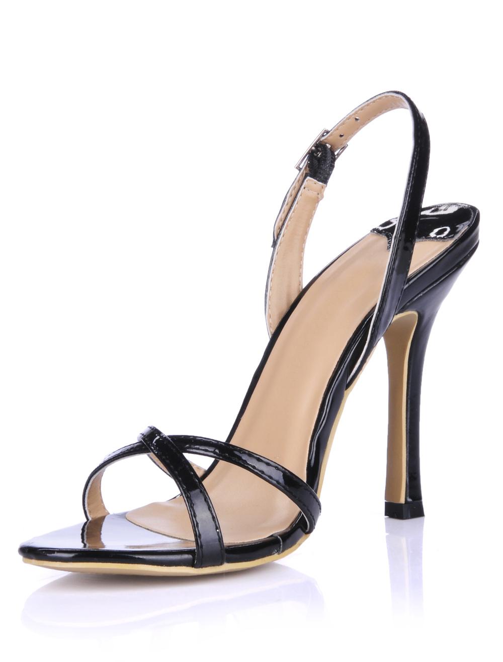 Sling Back Glazed PU Dress Sandals