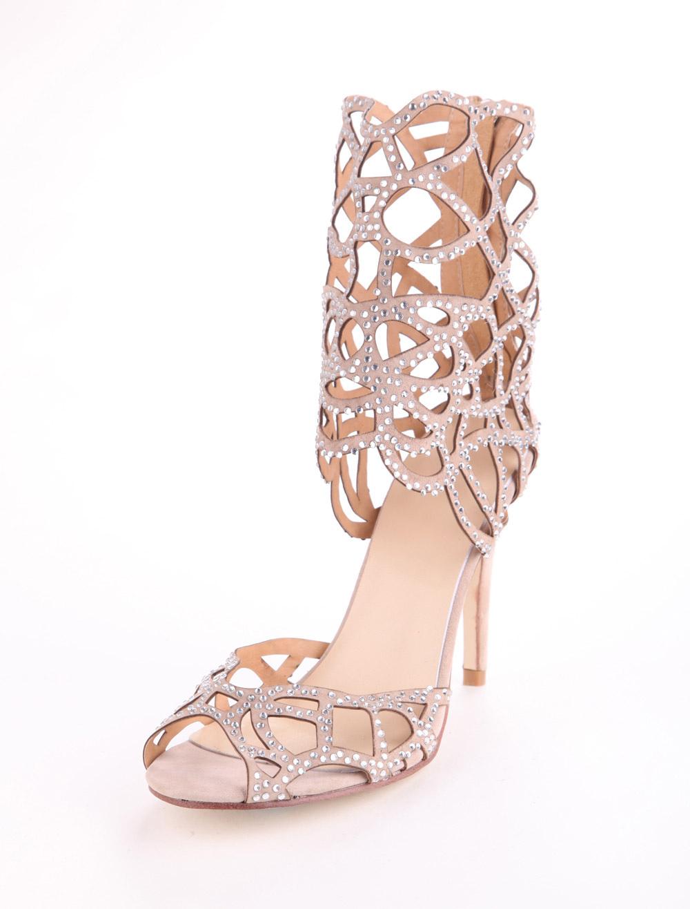 Sheepskin Suede Rhinestone Gladiator Shoes