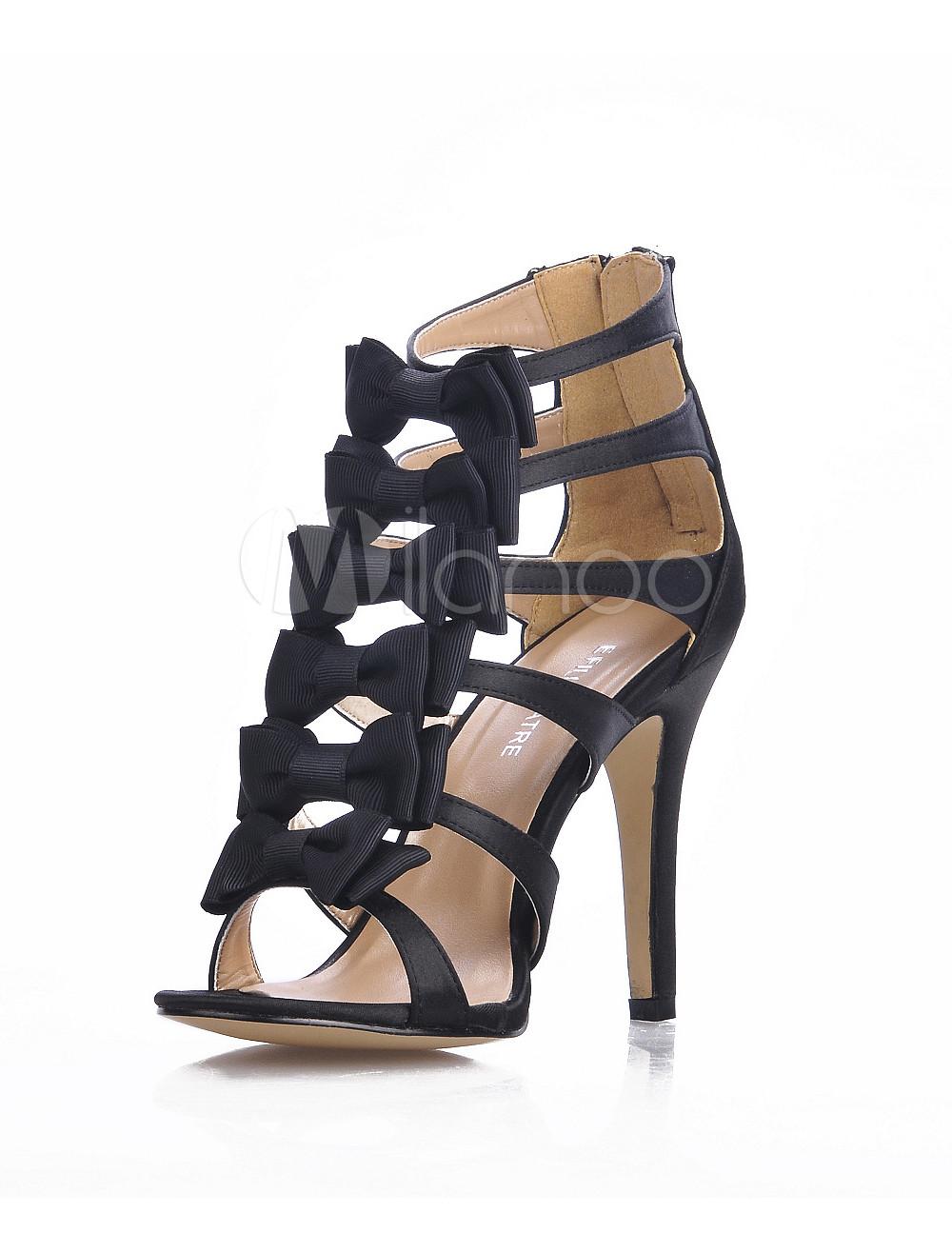 Black Bows Back Zip Closure Imitated Silk Womens Gladiator Sandals