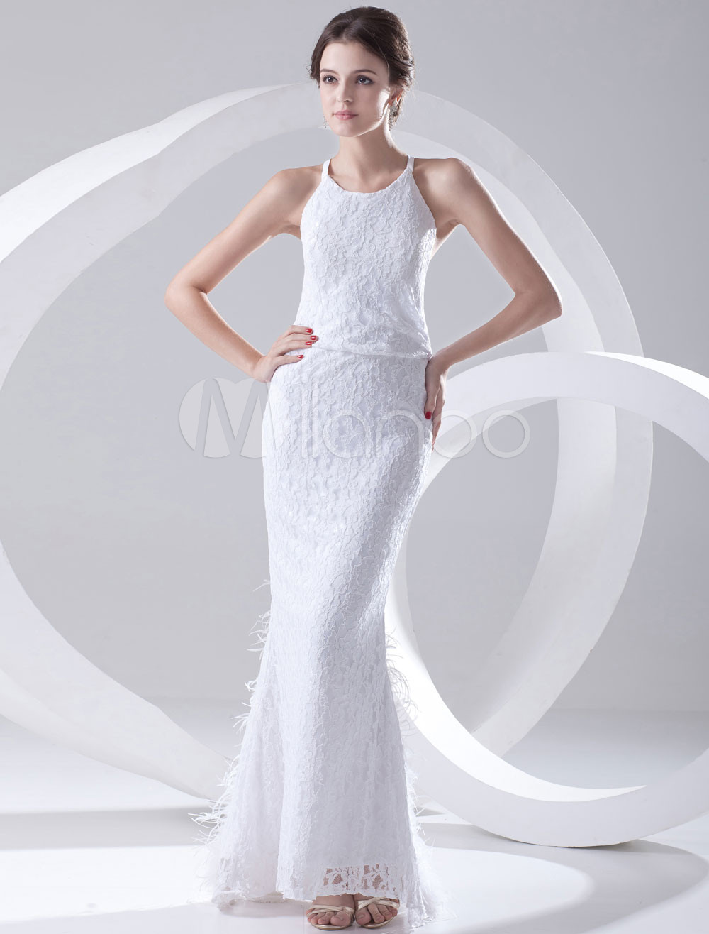 Elegant White Lace Feather Jewel Neck Women\'s Evening Dress ...