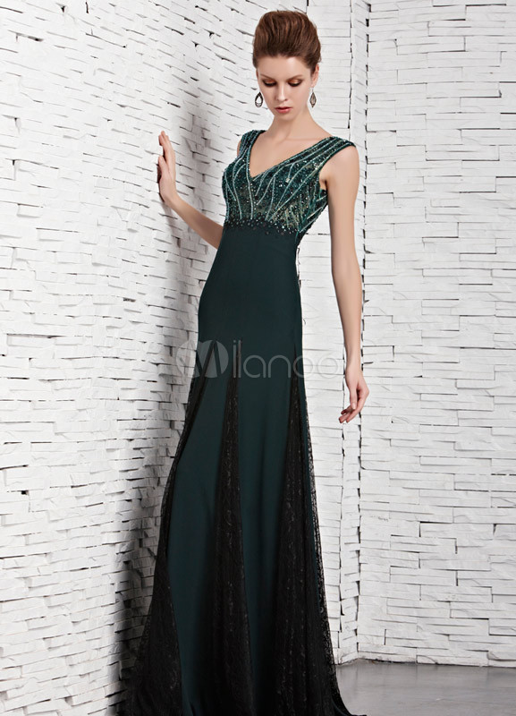 3a509827458 Charming Dark Green A-line V-Neck Beading Mesh Prom Dress - Milanoo.com