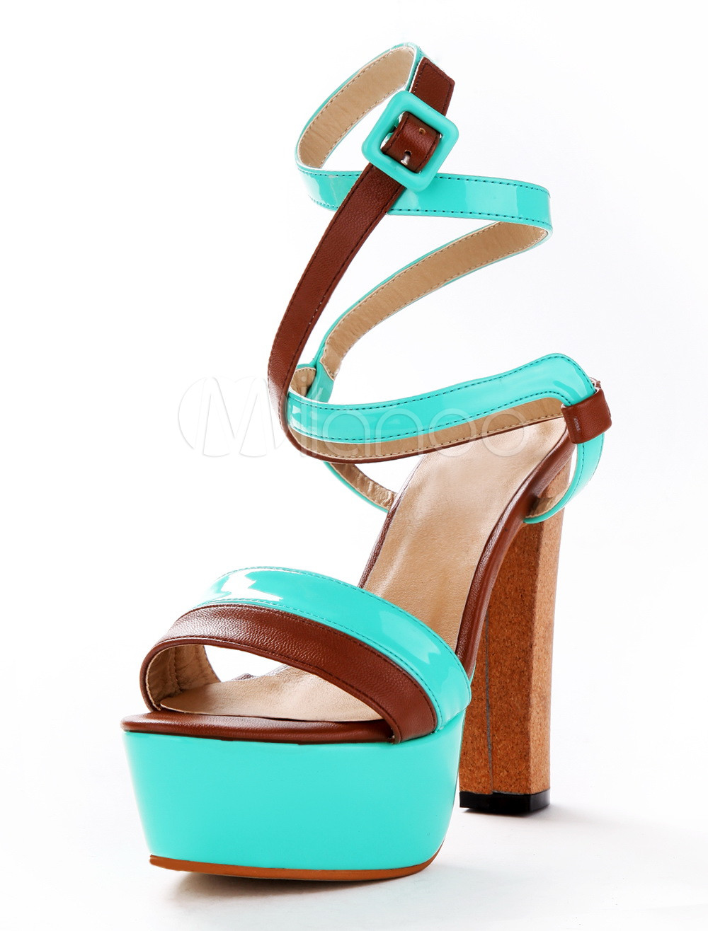 6c0d789fe6b ... Sexy Lime Green PU Leather Chunky Heel Buckle Gladiator Sandals For  Woman-No.6. 12. Color  AddThis Sharing Buttons