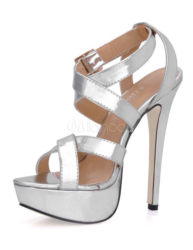 Silver Criss-Cross Glazed PU Woman's Gladiator Sandals