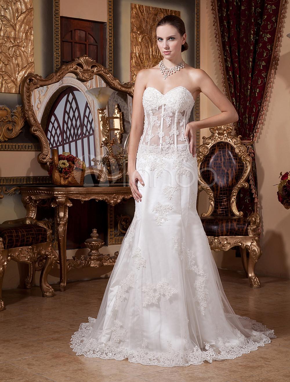 White Semi-Sheer Waist Mermaid Trumpet Lace Wedding Dress - Milanoo.com