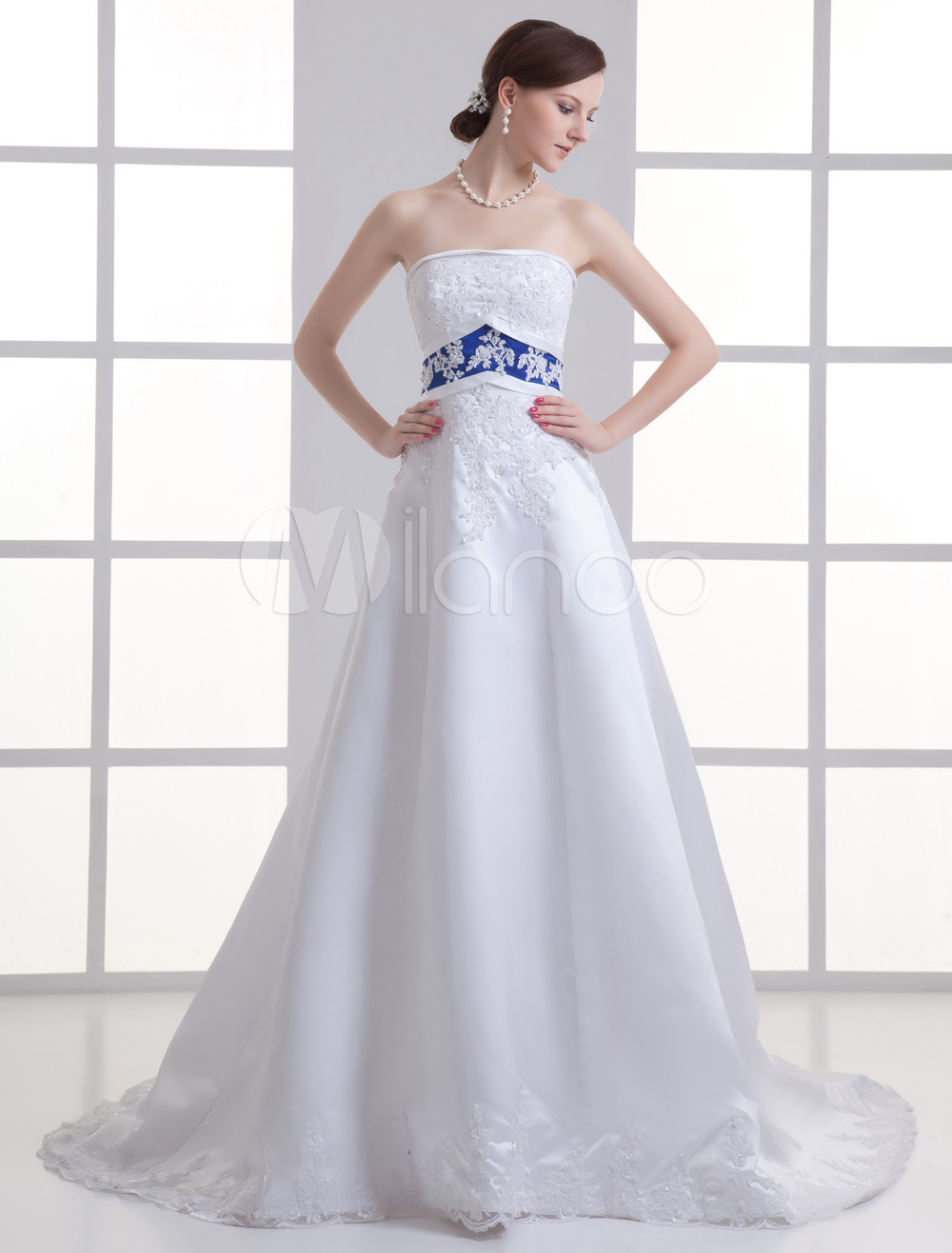 White strapless sequin blue sash satin bridal wedding gown for Blue sash for wedding dress