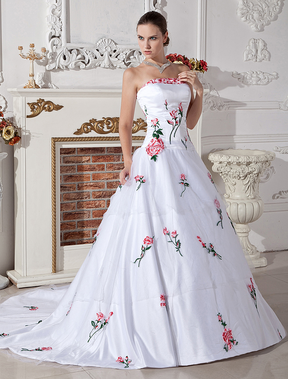 Beautiful White A-line Strapless Embroidery Satin Organza Wedding Gown
